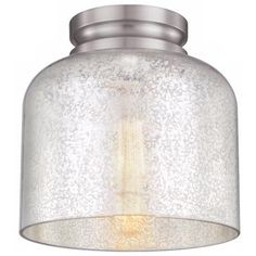 """Feiss Hounslow 9"""" High Steel and Glass Ceiling Light"""