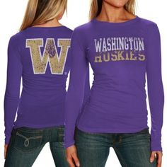 My U Washington Huskies Ladies Literalilty Long Sleeve Slim Fit T-Shirt - Purple
