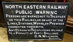 original cast iron sign from north eastern railways warning trespassers they would be liable to a fine of 40 shillings. Industrial Signs, Cast Iron, It Cast, Originals Cast, Antiques, Bob, Lights, Antiquities, Antique