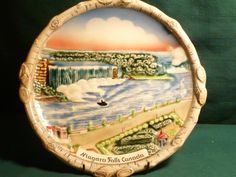 "#1866-Vintage german majolica ""Niagara Falls"" plate-size 9.50"" round- - http://get.sm/q2cUYUf #tradebank General Merchandise,Hamilton ON"
