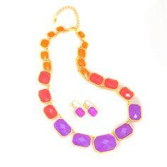 Geometric Necklace + would Love Drop Earrings