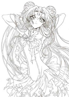 Line art drawing of Sailor Moon by sureya. What makes this stand out is because of the intricate details that the artist has paid attention especially on the hair and the dress. - The magic that Sailor Moon brings | Art and Design