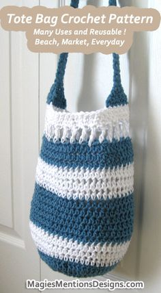 Crochet Pattern Tote Beach Market Shopping Grocery Summer Purse Hand Bag Purse PDF Instant Download, $2.25