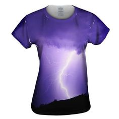 Lightning Strike Purple Womens Top ($30) ❤ liked on Polyvore featuring tops, wet look top and purple top