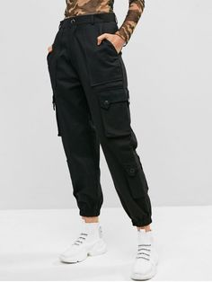 Pockets Solid Color Cargo Jogger Pants - Black M Streetwear Mode, Streetwear Fashion, Girl Outfits, Casual Outfits, Men Casual, Fashion Pants, Fashion Outfits, Fashion Clothes, Mode Kpop