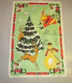 Vintage CHRISTMAS Towel Santa Needs to Reign in by unclebunkstrunk, $47.99