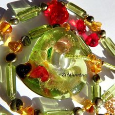 OOAK Peridot and Amber: LampWork HEART Pendant Necklace - Handmade beaded Jewelry and Beading by Ziddharta by Ziddharta on Etsy