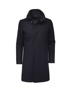Men's coat in Melton wool. Features a high collar, concealed front closure and single back vent for minimalistic look. Slim fit with tailored shape. Hits above-knee.