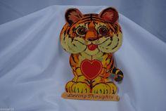 vtg valentine card German standup cardboard mechanical tiger animal EPHEMERA