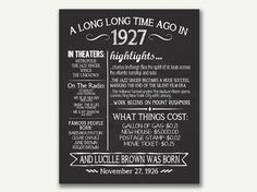The Year 1927 Personalized 90th Birthday Printable Poster