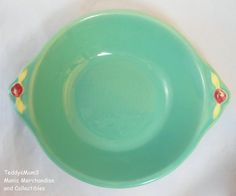 """Most people don't think of pretty tableware when they hear the name """"Coors"""", but up until the second World War, they made a great deal of it! This is a pretty example of the Rosebud pattern.  Coors Pottery Rosebud Green Vegetable Serving Bowl 10 Inch"""