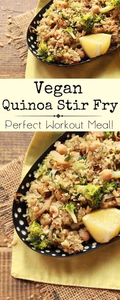 quick and healthy quinoa stir fry. Packed with nutritious ingredients, it's easy to make and very delicious!  #vegan #plantbased #veganrecipe
