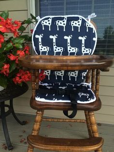 Navy High Chair Cover. Highchair Cover. High Chair Pad. High Chair Cushion.  Wooden High Chair Pad. Highchair Cushion. Highchair Pad