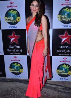 Kareena Kapoor Neon Georgette Party Wear Saree at Movie Gori Tere Pyaar Mein