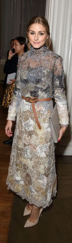 Olivia Palermo made her gorgeously textured ethereal dress feel a little less fancy by adding a tan, knotted belt.