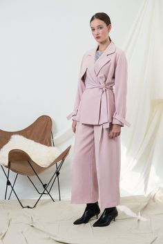 M057 Muted Pink Blazer and Gaucho Pants set