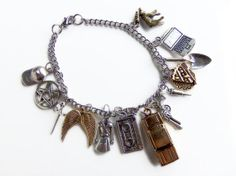 The Road So Far - Charm Bracelet Inspired by Supernatural with charms for Dean, Sam, Bobby, Castiel and Crowley
