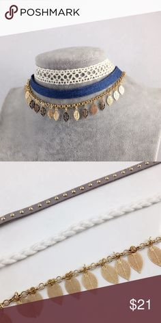 "Blue 3pc Festival Choker zinc alloy, mix-media designing at its best, combination of cloth and lightweight metals make for a beautifully feminine look, this listing is for the blue, the white is available in another listing  ▫️ in stock items ship next day ▫️(optional) RESERVE NOW any out of stock sizes by choosing """"options and it will ship automatically when it arrives back in stock Jewelry Necklaces"