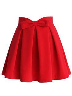 Red Bowknot Waist Pleat Detail Skater Skirt