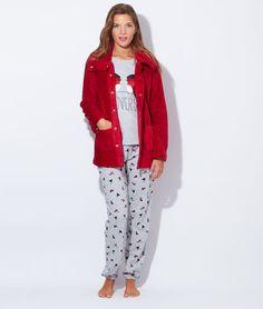 pyjama 3 pi ces veste polaire toucher peluche haut ours. Black Bedroom Furniture Sets. Home Design Ideas