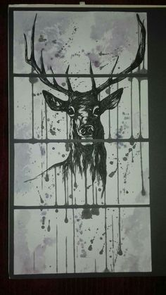 A3 stag drawing with original black ink and watercolour.