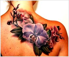 Orchid Tattoo Designs: 3d Orchid Tattoo Design For Girl On Upper Back ~ lookmytattoo.com Tattoo Design Inspiration