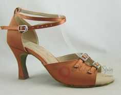Natural Spin Basic Latin Shoes(Open Toe, Adjustable):  L1113-01_DrBrown2CS