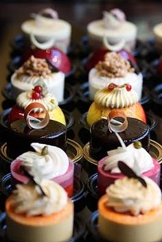 You'd need a steady hand to recreate these beautiful petit-fours like these. Stunning French entremets!