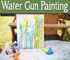 Water gun painting - This would be so fun this summer!