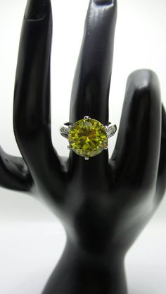 Brilliant Peridot Sterling Silver ring, size 7. by FierStaarGems on Etsy