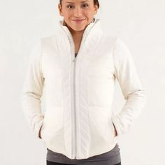 Lululemon St. Moritz Jacket size 4 Great condition! Signs of wear, slight darkening around sleeves due to normal wear (pictured). Very warm and cozy inside, also pictured!! Worn a handful of times, have way too many jackets! Size 4. lululemon athletica Jackets & Coats