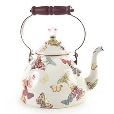 Butterfly Garden 3 Quart Tea Kettle - White