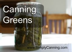 Canning greens like spinach, swiss chard or beet greens is super easy.  The hardest part is probably the washing step.  http://www.simplycanning.com/canning-greens.html