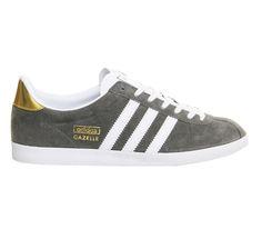 reputable site 1b531 773bf Adidas Gazelle Og Trainers Ash White Metallic Gold - junior