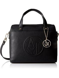 Armani Jeans Eco Leather Boston Satchel Bag Black One Size