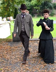 Penny Dreadful  - Timothy Dalton with Helen McCrory on location in Dublin September 2014