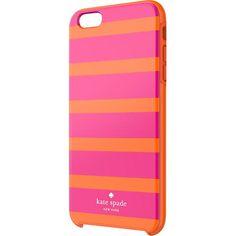 kate spade new york - Kinetic Stripe Hybrid Hard Shell Case for Apple® iPhone® 6 Plus - Pink/Orange - Larger Front