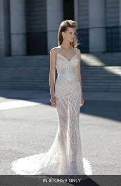 BERTA Berta Beaded Sheer Lace Column Dress (In Stores Only) available at #Nordstrom