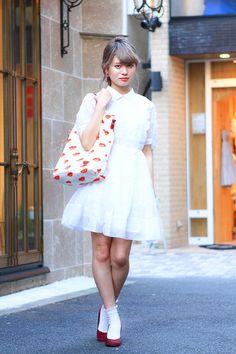 White ankle socks, red pumps, white vintage dress