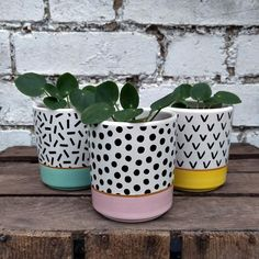 Pink Memphis Modern Mini Plant Pot - Plant Pot - Ideas of Plant Pot - Pink Memphis Modern Mini Plant Pot available to buy at Albert & Moo for dark moody interiors with a playful quirky edge. Painted Plant Pots, Painted Flower Pots, Ceramic Plant Pots, Diy Vintage, Flower Pot Design, Flower Pot Crafts, Pink Plant, Diy Garden Decor, Diy Flowers