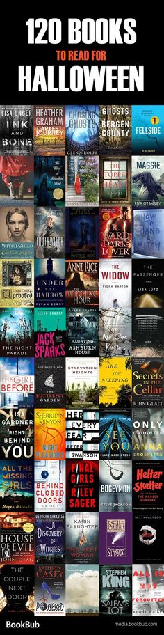 120 Halloween books for adults, including books about witches, scary stories, and other books for Halloween.
