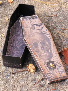 Large Vintage Gothic Paper Mache Coffin Box Vampire Dracula Victorian Steampunk with Skull Bats