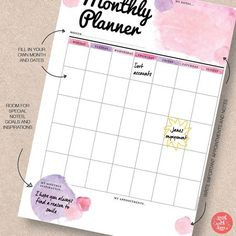 Use this pretty pink watercolor monthly planner to organize your home and social life. Download the PDF planner printable in A5/A4/Letter/Half sizes. Find more in this range at http://www.etsy.com/shop/stickwithsam   Monthly Calendar   Monthly Planner Organization   Monthly Planner DIY   Printable Planner   Printables