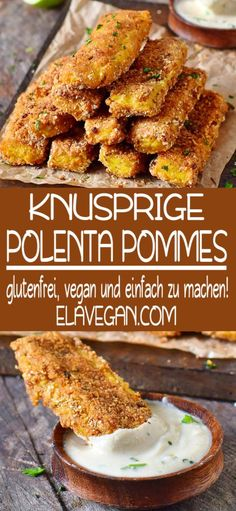 """POMMES RECIPE - Crunchy polenta fries with a delicious cashew and garlic dip! This hearty snack is a great """"finger -POLENTA POMMES RECIPE - Crunchy polenta fries with a delicious cashew and garlic dip! This hearty snack is a great """"finger - Vegan Snacks, Healthy Snacks, Polenta Frita, Crispy Polenta, Vegetarian Recipes, Healthy Recipes, Vegetarian Cheese, Easy Smoothie Recipes, Finger Foods"""