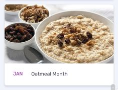 National Months, Oatmeal, Breakfast, Food, The Oatmeal, Morning Coffee, Rolled Oats, Essen, Meals