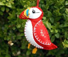 Puffin Christmas ornament Felt puffin ornament by PuffinPatchwork