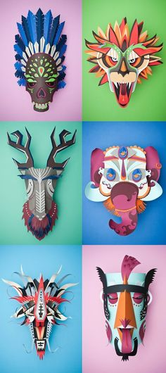 Paper animal masks by INK Studio – Graphical Carnaval Middle School Art Projects, Art School, School Ideas, High School, Ink Studio, Arte Elemental, Classe D'art, Paper Animals, Origami Animals