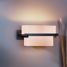 Hubbardton Forge Kakomi 1 Light Wall Sconce Finish: Brushed Steel, Shade Color: Pearl