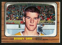 The Topps set consists of 132 hockey cards from the Original 6 NHL teams. The feature is the rookie card of Bobby Orr of the Boston Bruins. Hockey Cards, Baseball Cards, Bobby Orr, Post War Era, Boston Bruins Hockey, Boston Sports, Canada, Sports Figures, National Hockey League