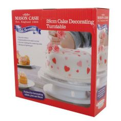 Mason Cash 27 x 7.6cm Cake Decorating Turntable - Perfect Icing - 360° by Mason Cash. $11.99. Mason Cash 27cm x 7.6cm Cake Decorating Turntable   Smooth Rotation --- Raised platform for easier access --- Circular markings for centering cake --- Strong and lightweight. --- Giftboxed.